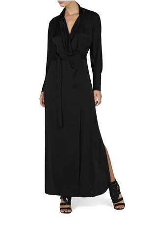 BCBGMAXAZRIA Ziata Draped-Front Long Shirtdress