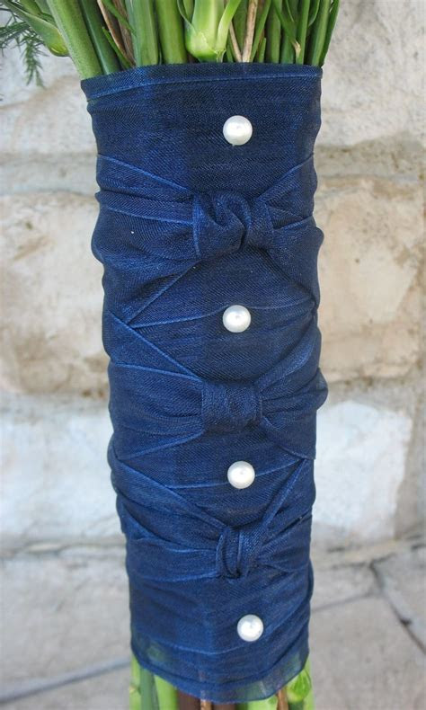 Navy blue sheer ribbon with white pearls   Bridal Bouquet