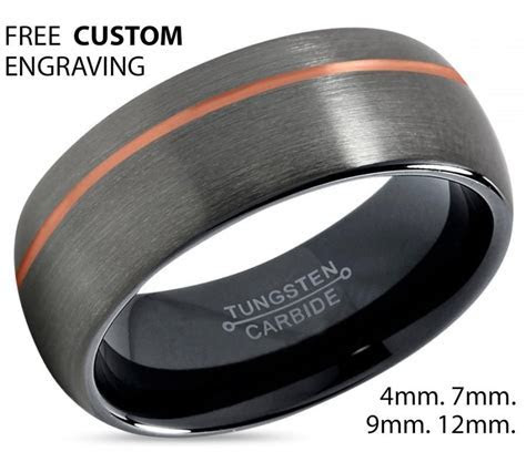 GUNMETAL Tungsten Ring Rose Gold Black Wedding Band Ring