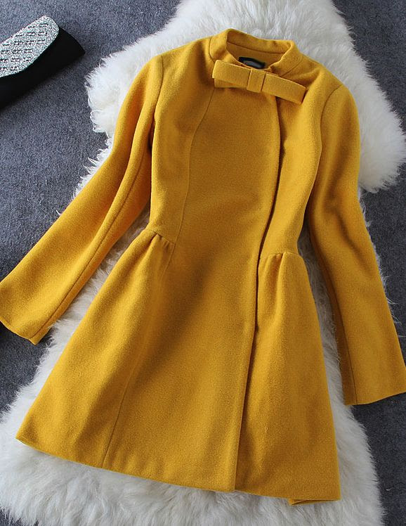 Bow woolen long-sleeved Coat