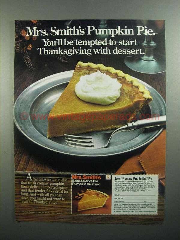 1984 Mrs. Smith's Pumpkin Pie Ad - Start Thanksgiving