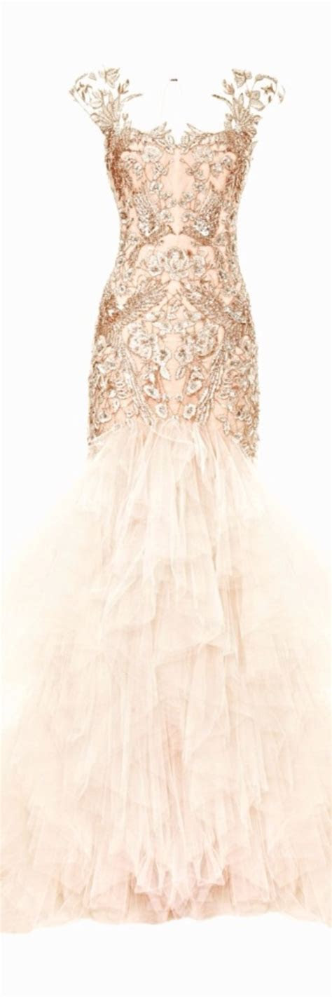 Metallic Threadwork Tulle Fishtail Gown by Marchesa for