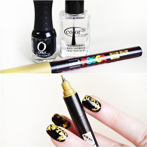 Baroque print nail art