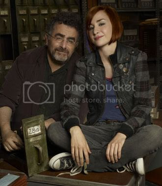 Saul Rubinek (left) as 'Artie Nielsen', Allison Scagliotti as 'Claudia Donovan' from Warehouse 13