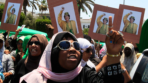 Women in Libya demonstrating in support of the revolutionary government of Muammar Gaddafi. The North African state has been fighting the imperialist onslaught for over five months. by Pan-African News Wire File Photos