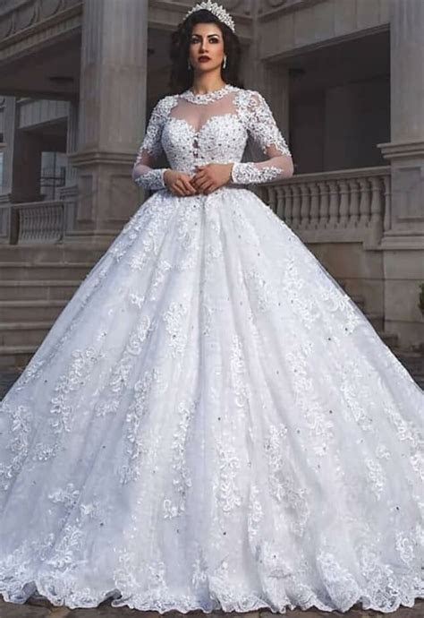 Glamorous Long Sleeve 2019 Wedding Dresses   Lace Ball