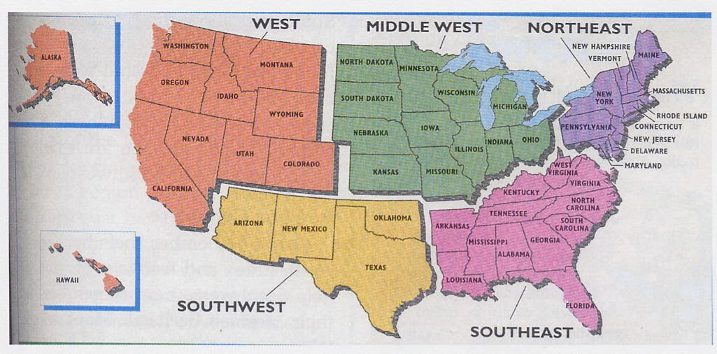 Map Of The United States By Regions.Map 5 Regions United States