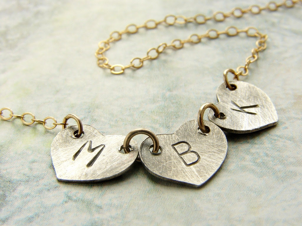 Personalized Initial heart necklace, Initial Monogram oxidized silver initial heart, whole name kids initials necklace