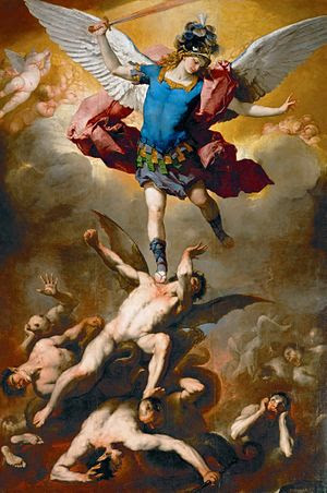 Luca Giordano's painting of Archangel Michael ...