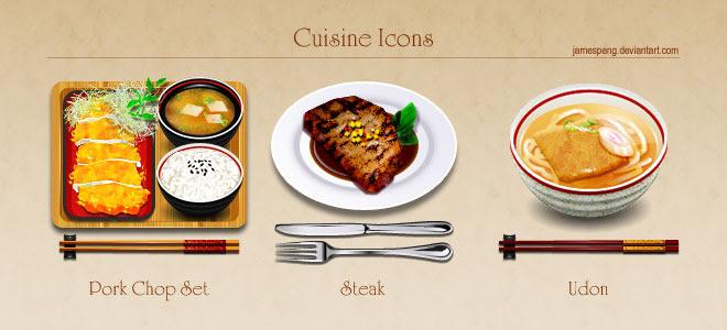 無料素材 トンカツやステーキにキツネうどんをリアルに描いたイラスト