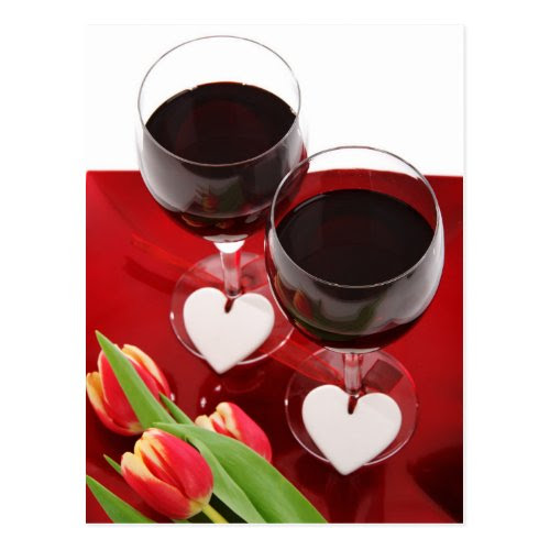 Wine Glasses and Hearts Postcard