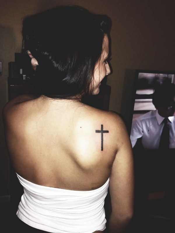 Attractive Girl Right Back Shoulder Cross Tattoo