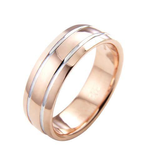 Rose Gold Mens Wedding Ring   Gents Rose & White Band   NI