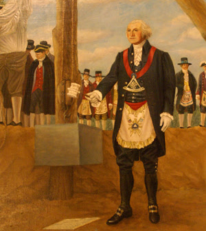 George Washington with Masonic Regalia upon his Work