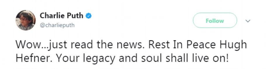 Charlie Puth showed his devastation on his social media platform