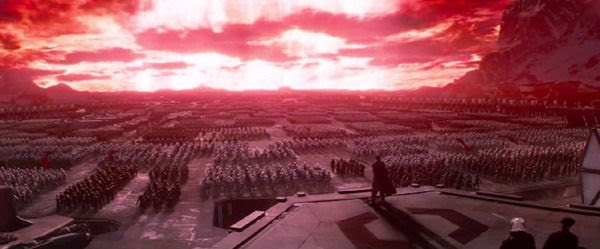 General Hux and his legion of First Order soldiers watch as Starkiller Base fires its superweapon towards the Hosnian system in STAR WARS: THE FORCE AWAKENS.
