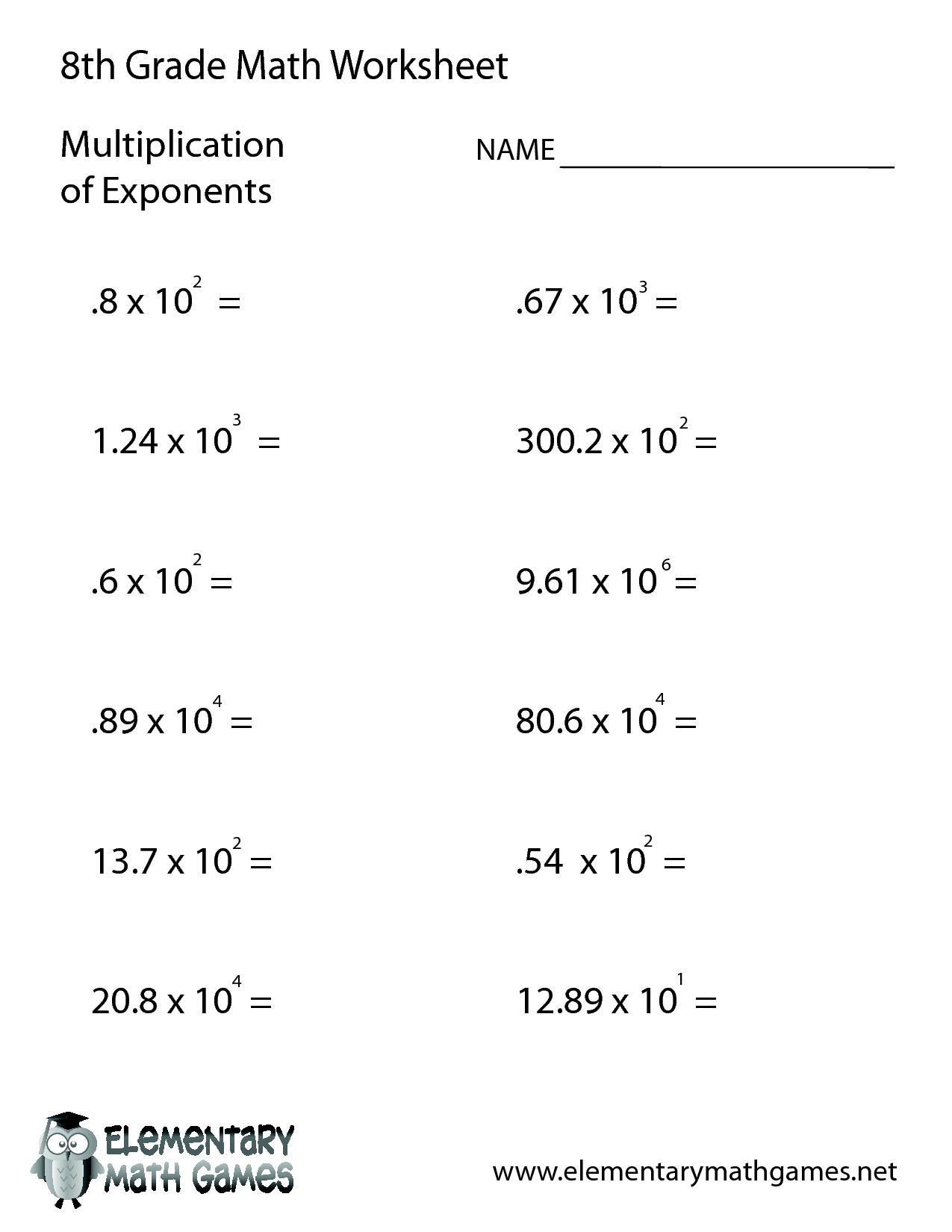 8th Grade Math Practice Test Worksheets. Worksheets Math Integer ...