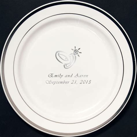 Dessert Plates   7 In. Silver Trim Reusable Personalized