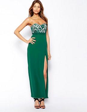 Image 1 ofElise Ryan Bandeau Maxi Dress with Thigh Split