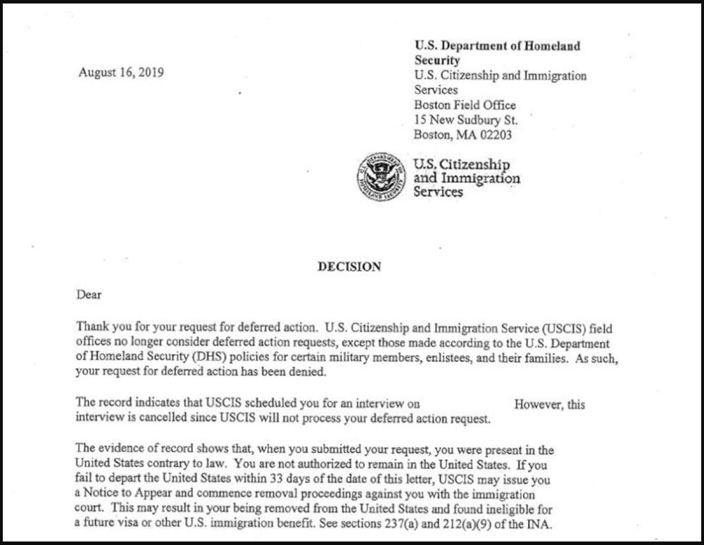 Deportation letter