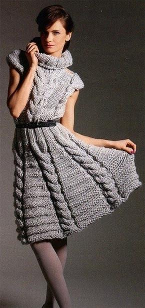Вязание для женщин. Платье с косами и высоким воротником