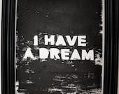 "PRINT- Lino Print, ""I Have A Dream"" 8X10"