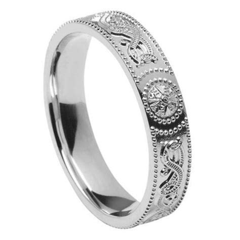 Ladies Celtic Warrior Silver Wedding Band   Celtic Wedding