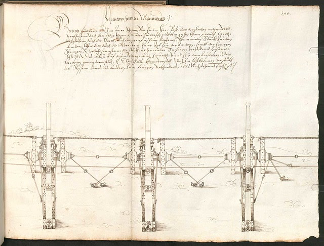 Early Modern manuscript warfare drawing -  Artilleriebuch 1582 BSB m