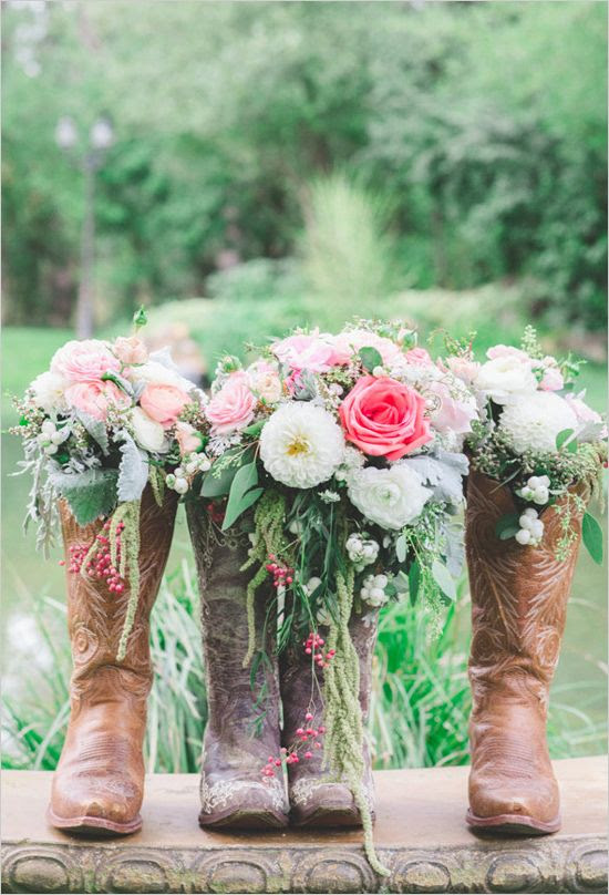 Dainty bouquets in rugged boots. Captured By: Park Road Photography ---> http://www.weddingchicks.com/2014/05/08/shabby-chic-western-wedding/