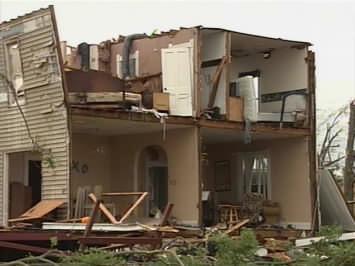 tornado damaged house in Chapman, KS