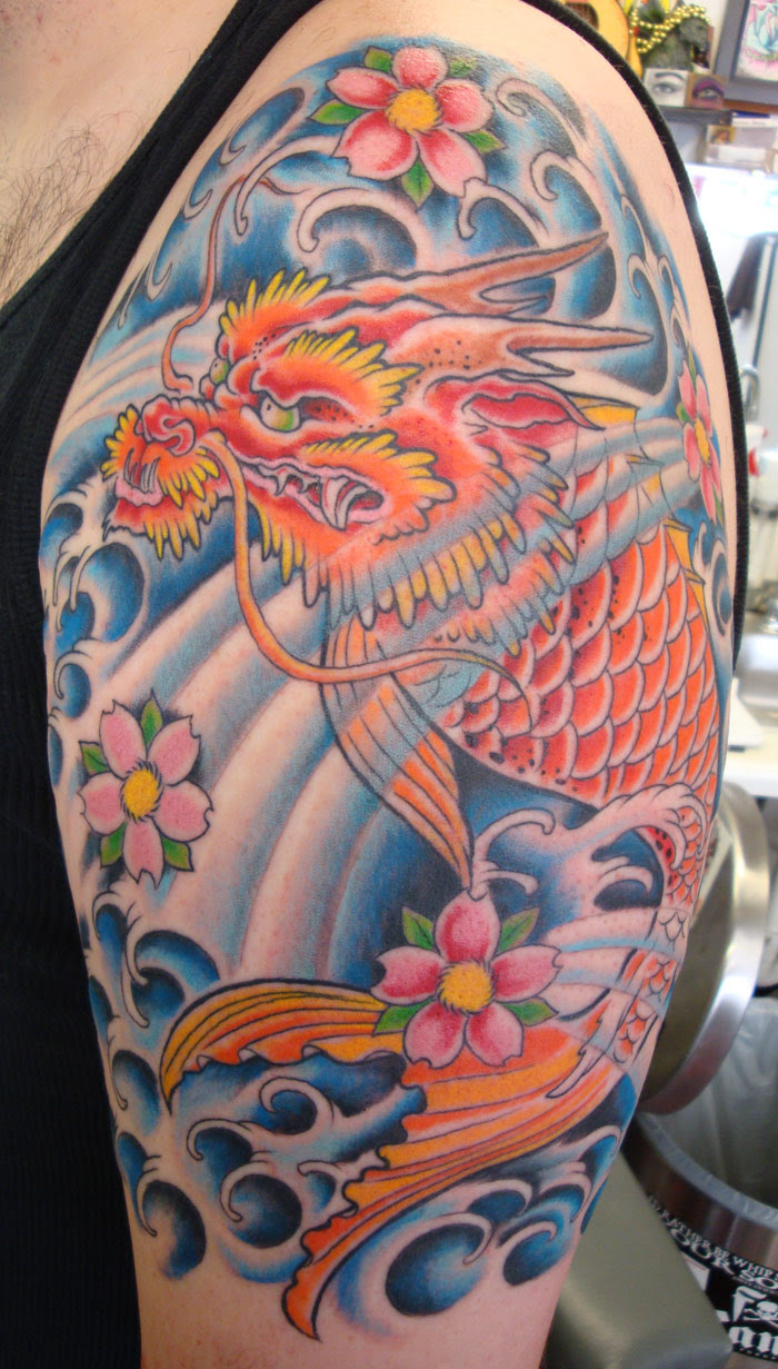 Dragon Fish Tattoo With Waves And Cherry Blossoms Opie Ortiz