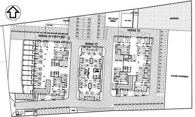 Layout Plan of 3 Buildings - Pinnac Borate Empire + Pinnac Anand Residency + Pinnac Asha Residency