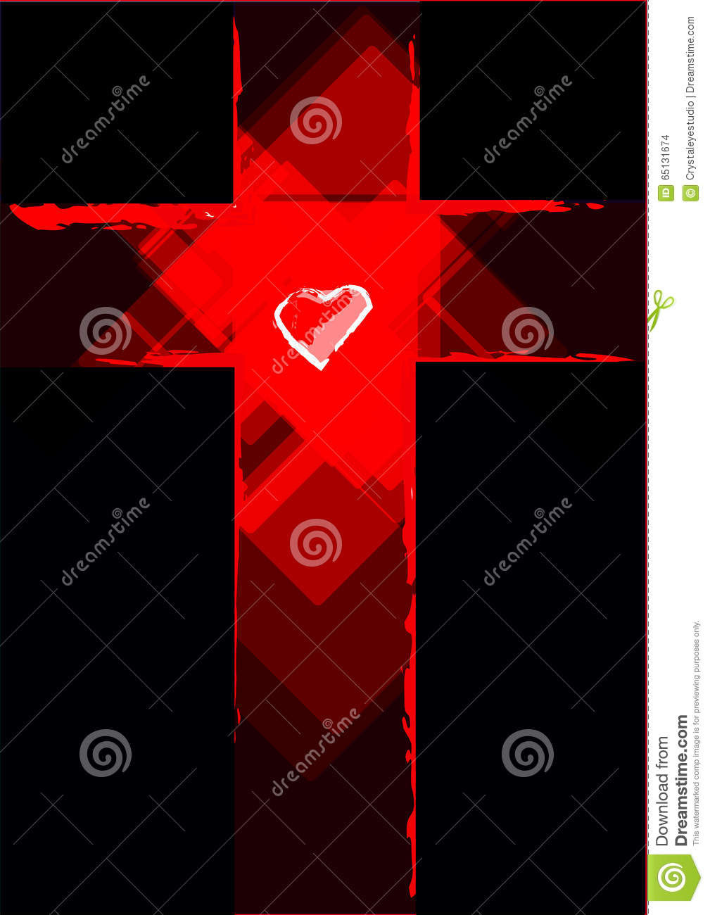 Cross Contemporary Abstract With A Heart In The Middle. Editable ...