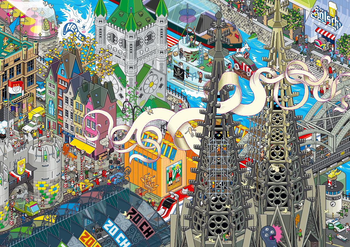 Eboy ville pixel art Cologne Les villes pixelisés deBoy  design art