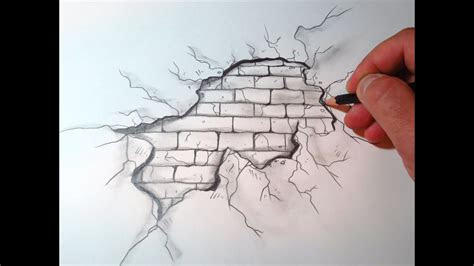 draw  cracked brick wall  original youtube