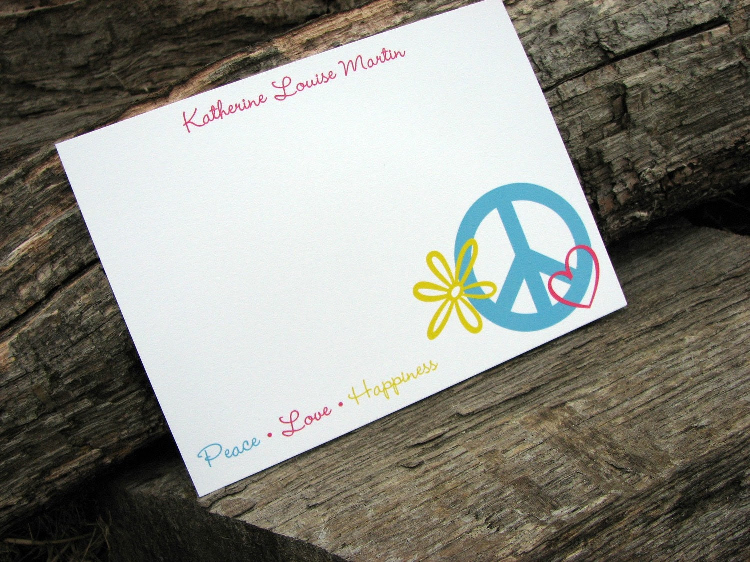 Peace, Love, Happiness Set of Personalized Flat Note Cards