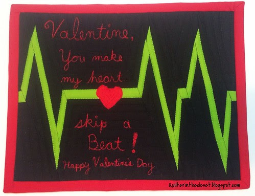 EKG Valentine Mug Rug