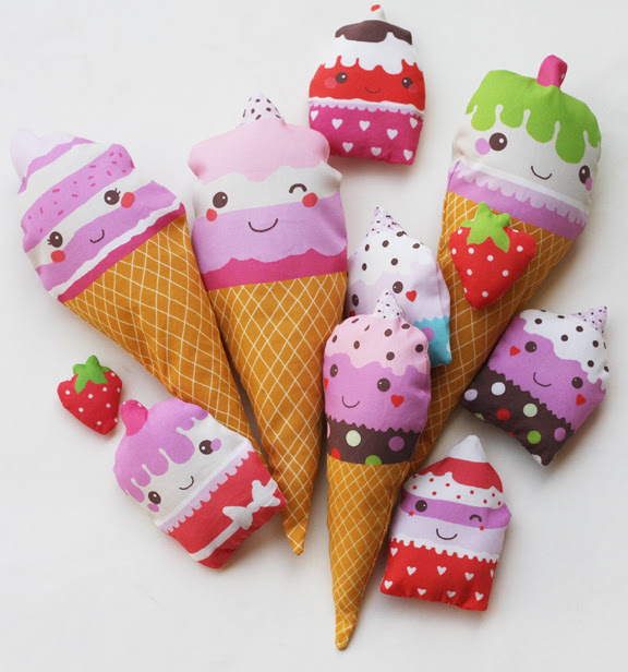 Soft fabric play food - ice creams