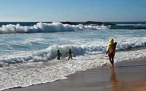 Lifeguard at the Praia Grande ('Large Beach')....