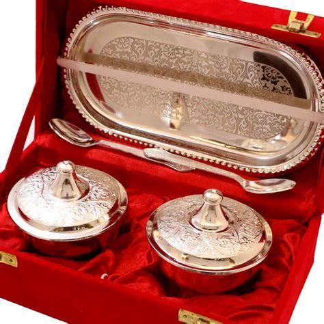 Buy German Silver Handcrafted Bowl Set Online   Boontoon.com