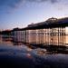 low tide + pier at dusk