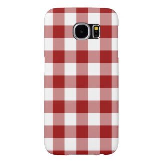 Red and White Gingham Pattern Samsung Galaxy S6 Cases