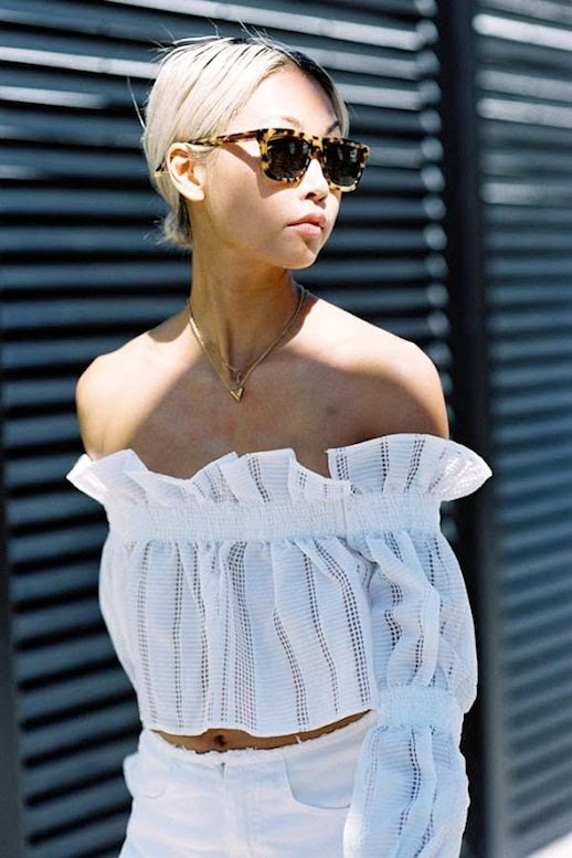 Le Fashion Blog Blogger Summer Style Vanessa Hong All White Look Tortoise Sunglasses Feminine Ruffled Off The Shoulder Crop Top Jeans Via Vanessa Jackman