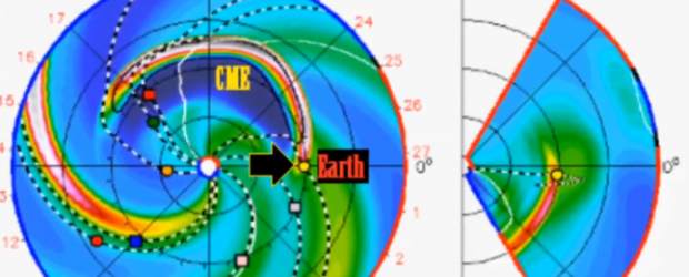 Two Coronal Mass Ejections (CME's) are expected to impact the earth in the next 24 hours and a G1-Class Geomagnetic storm will be possible shortly after. Solar activity is expected to go quiet again after these active regions rotate off the earth-facing disk over the next 36 hours.   Video by SolarWatcher http://solarwatcher.net Related posts: Brief G1 geomagnetic storm over Solar wind  reached near 700 km/s and this helped stir up a brief G1 Level Geomagnetic Storm (Kp=5) at high latitudes during the early hours of Wednesday morning. Migratory animals are affected at this and higher levels and aurora is commonly visible...