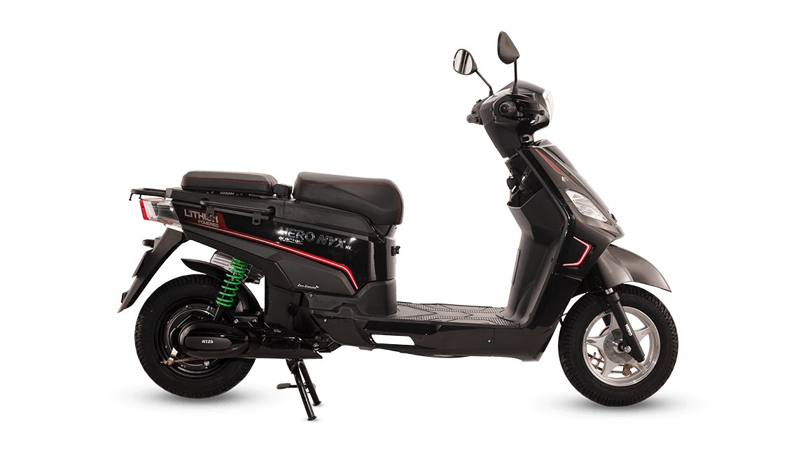 The dual-battery Hero Electric Nyx E5 ER (with a claimed range of 165 kilometres) will cost a mere Rs 38,000 in Maharashtra. Image: Hero Electric