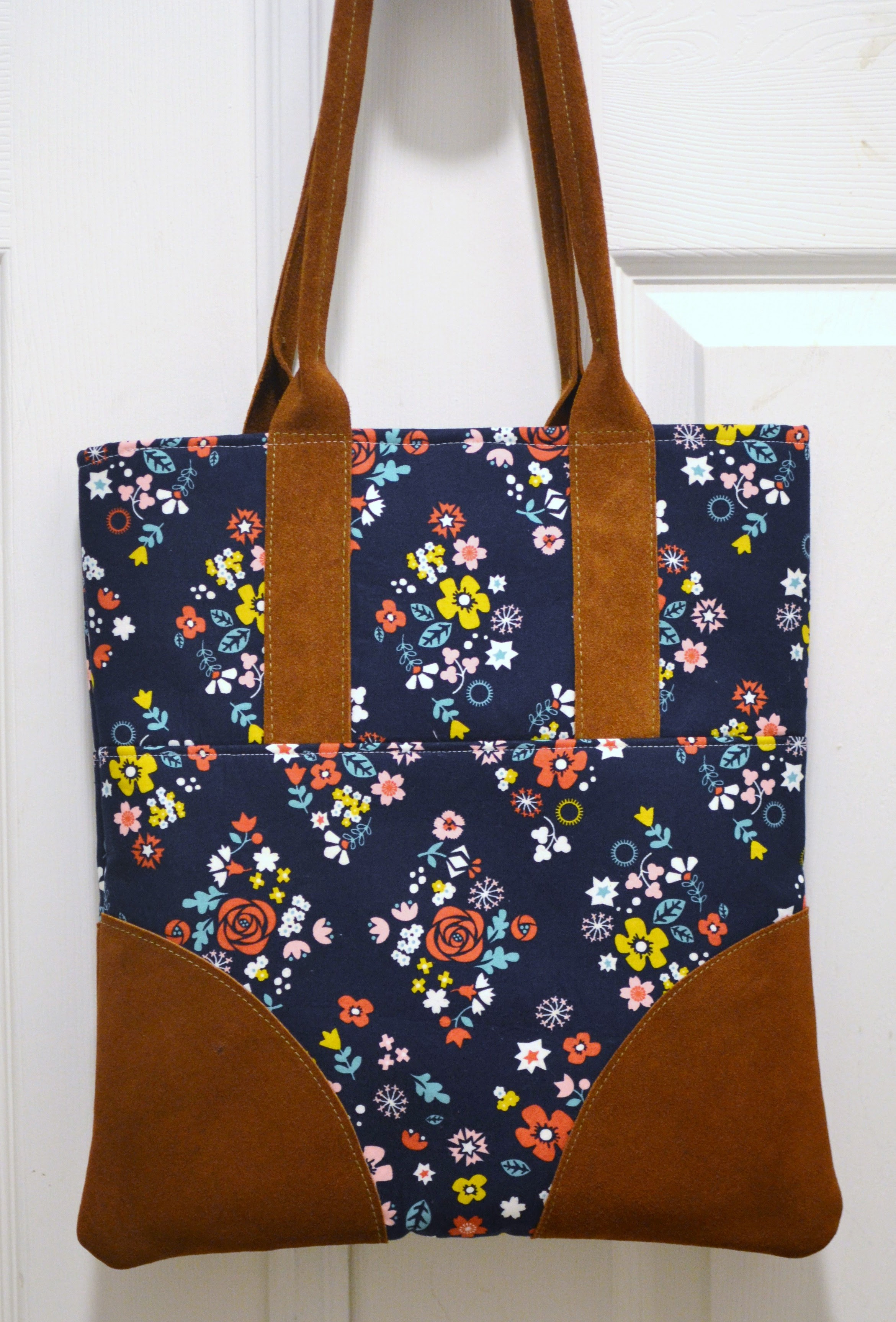 leather accent tote