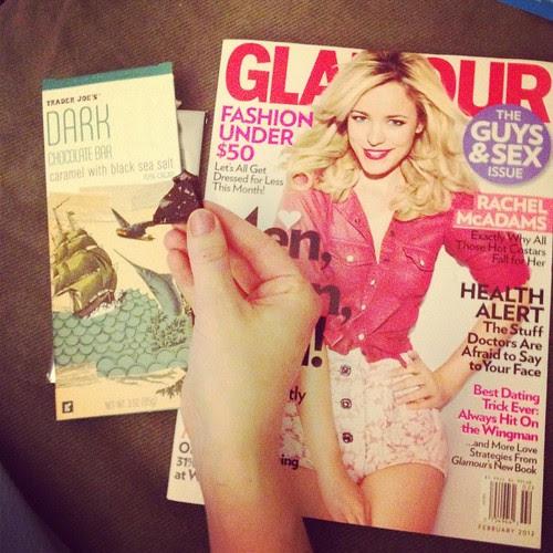 Trader Joe's dark chocolate and Glamour February 2012 magazine