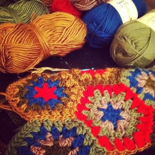 crochet stockings in progress