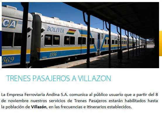 Servicio de tren desde Villazón fué habilitado recientemente