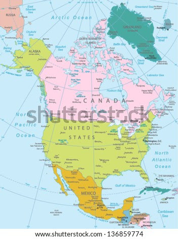 North America Map Stock Photos, Royalty-Free Images & Vectors ...